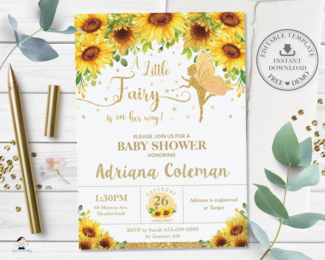 Chic Sunflower Floral Fairy Baby Shower Invitation Editable Template - Digital Printable File - Instant Download FF6