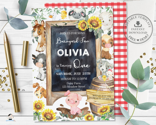 Cute Farm Animals Sunflower Barnyard Birthday Party Invitation Editable Template - Digital Printable File - Instant Download - BY3