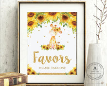 Load image into Gallery viewer, Chic Sunflower Giraffe Favors Please Take One Sign Decor - Digital Printable File - Instant Download - GF2
