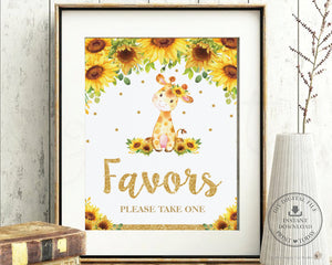 Chic Sunflower Giraffe Favors Please Take One Sign Decor - Digital Printable File - Instant Download - GF2