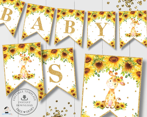 Chic Sunflower Giraffe Bunting Flag Banner Baby Shower Birthday Editable Template - Digital Printable File - Instant Download - GF2