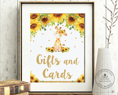 Chic Sunflower Giraffe Gifts and Cards Sign Decor - Digital Printable File - Instant Download - GF2