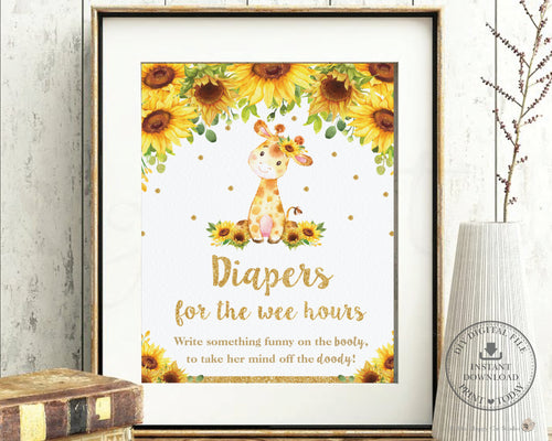 Sunflower Giraffe Diapers for the Wee Hours Sign Late Night Diapers Sign - Instant Download - Digital Printable File - GF2