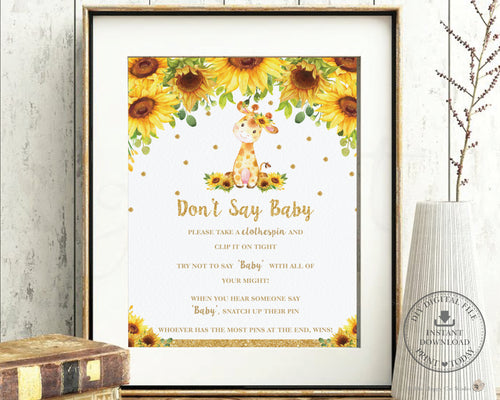 Chic Sunflower Giraffe Don't Say Baby Game Baby Shower Acvitivity - Digital Printable File - Instant Download - GF2