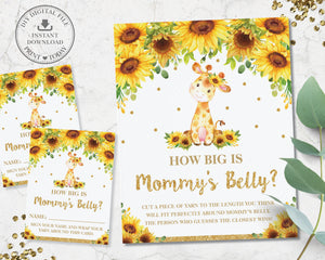 Chic Sunflower Giraffe How Big is Mommy's Belly Baby Shower Game - Instant Download - Digital Printable File - GF2