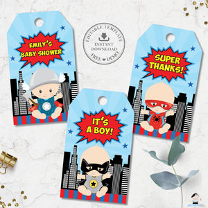 Cute Vibrant Superhero Baby Shower Birthday Favor Tags Editable Template - Instant Download - S1