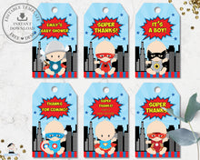 Load image into Gallery viewer, Cute Vibrant Superhero Baby Shower Birthday Favor Tags Editable Template - Instant Download - S1