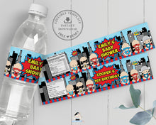Load image into Gallery viewer, Cute Baby Superheroes 1st Birthday Baby Shower Water Bottle Label Editable Template - Instant Download - S1