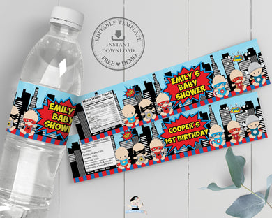 Cute Baby Superheroes 1st Birthday Baby Shower Water Bottle Label Editable Template - Instant Download - S1