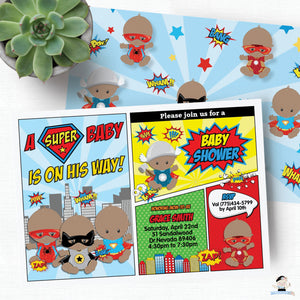 Superhero Baby Boy Shower Invitation and Thank You Note Editable Template - Instant Download - S1