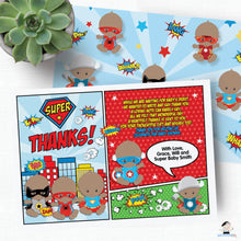Load image into Gallery viewer, Superhero Baby Boy Shower Invitation and Thank You Note Editable Template - Instant Download - S1