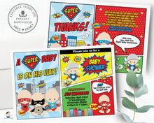 Load image into Gallery viewer, Superhero Baby Shower Boy Invitation and Thank You Note Editable Template - Instant Download - S1