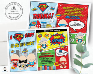 Superhero Baby Shower Boy Invitation and Thank You Note Editable Template - Instant Download - S1