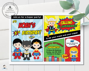 Vibrant Superhero Girls Boys Comic Book Birthday Party Invitation - Editable Template - Instant Download - HP2