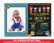 Load image into Gallery viewer, Superhero Birthday Party Photo Invitation - Editable Template - Digital Printable File - Instant Download - HP1