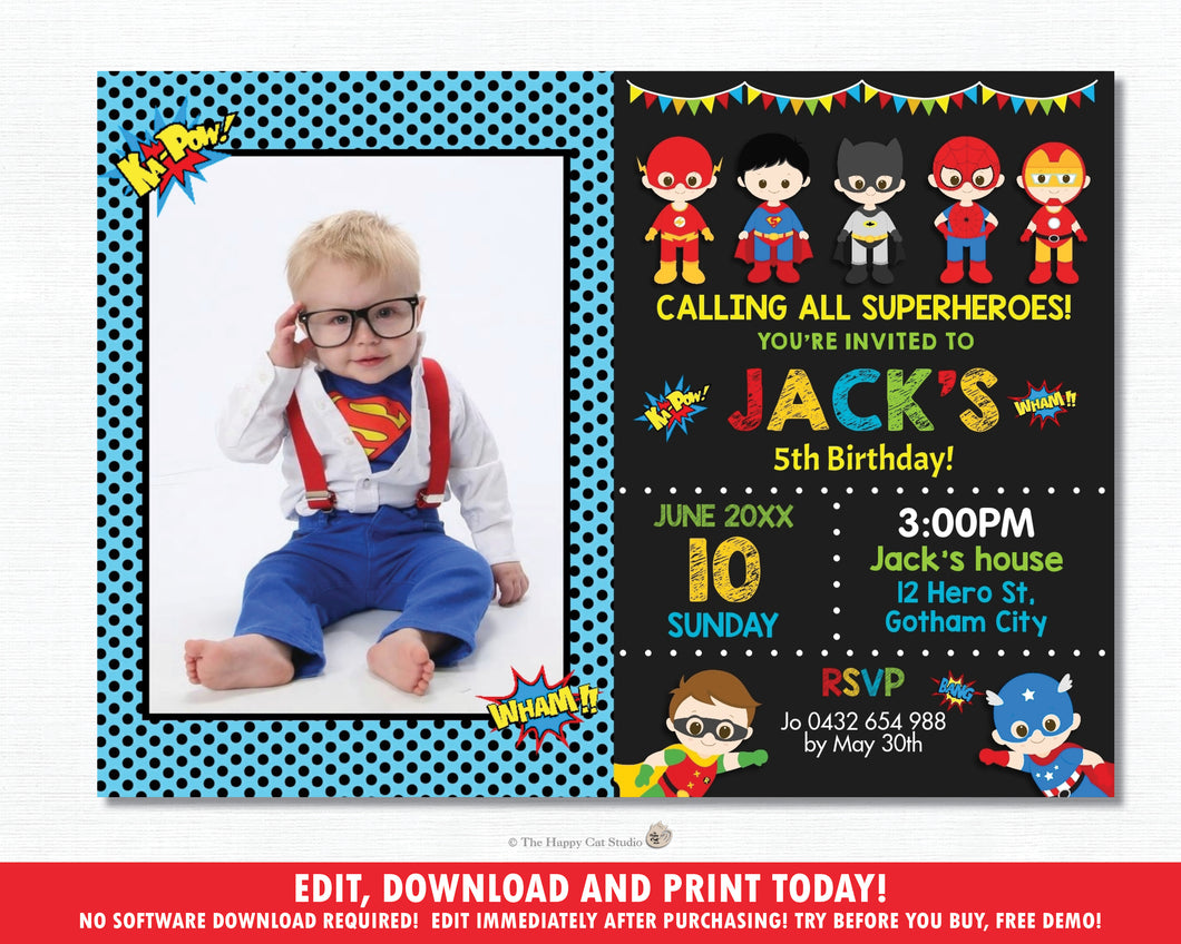 Superhero Birthday Party Photo Invitation - Editable Template - Digital Printable File - Instant Download - HP1