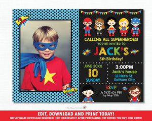Superhero Boys and Girls Birthday Party Photo Invitation - Editable Template - Digital Printable File - Instant Download - HP1