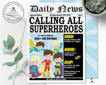 Load image into Gallery viewer, Superhero Boys Birthday Party Invitation Editable Template - Instant Download - HP2