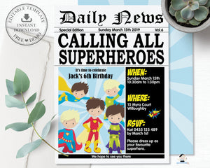 Superhero Boys Birthday Party Invitation Editable Template - Instant Download - HP2