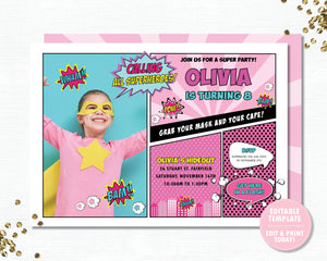 Superhero Pink Birthday Party Invitation with Photo Editable Template - Instant Download - HP3