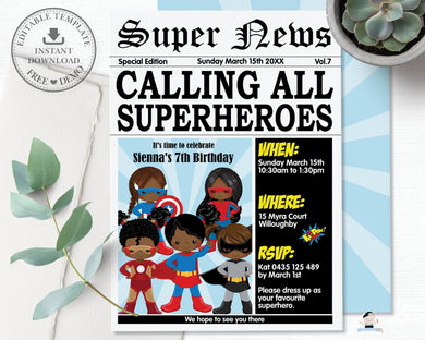Superhero Birthday Party Invitation African American Editable Template - Instant Download - HP2