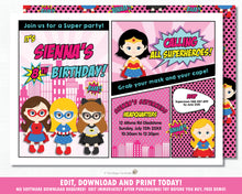 Load image into Gallery viewer, Superhero Girls Pink Birthday Party Invitation Editable Template - Instant Download - HP6