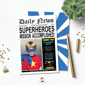 Superhero Birthday Party Thank You Card with Photo Editable Template - Instant Download - HP2