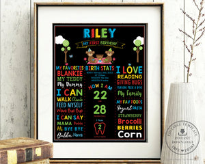 Cute Teddy Bear Picnic 1st Birthday Milestone Sign Editable Template - Instant Download - Digital Printable File - TB2