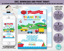 Load image into Gallery viewer, transportation-birthday-party-personalised-thank-you-card-editable-template-digital-printable-file
