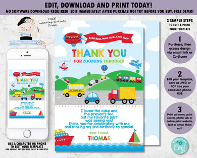 transportation-birthday-party-personalised-thank-you-card-editable-template-digital-printable-file