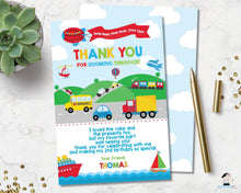 Load image into Gallery viewer, transportation-birthday-party-personalised-thank-you-card-editable-template-digital-printable-file-car-train-trucks-hot-air-balloon-ships-helicopter