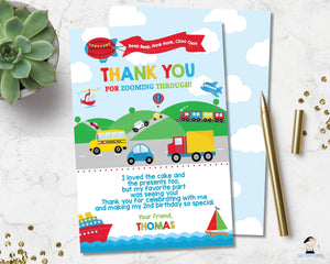 transportation-birthday-party-personalised-thank-you-card-editable-template-digital-printable-file-car-train-trucks-hot-air-balloon-ships-helicopter