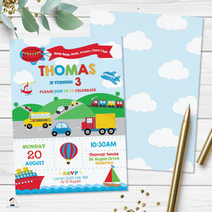 Transportation Birthday Party Invitation - Instant EDITABLE TEMPLATE - TR1