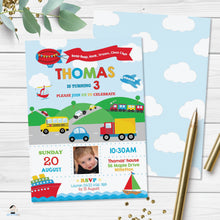 Load image into Gallery viewer, Transportation Birthday Party Invitation - Instant EDITABLE TEMPLATE - TR1
