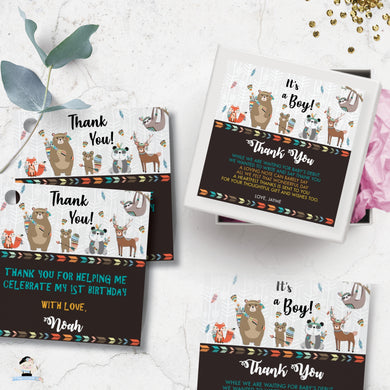 Tribal Woodland Animals Baby Shower Birthday Tags Editable Template - Instant Download - Digital Printable File - WB1