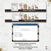 Load image into Gallery viewer, Tribal Woodland Animals Baby Shower Birthday Water Bottle Labels Editable Template - Instant Download - Digital Printable File - WB1