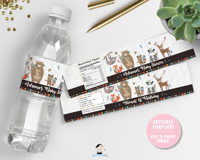 Tribal Woodland Animals Baby Shower Birthday Water Bottle Labels Editable Template - Instant Download - Digital Printable File - WB1