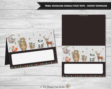 Tribal Woodland Animals Blank Food Tents Place Cards Digital Printable File - Instant Download - WB1
