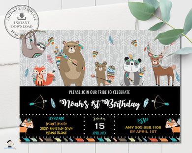 Tribal Woodland Animals Birthday Party Invitation Editable Template - Instant Download - Digital Printable File - WB1