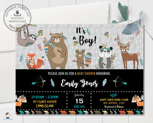 Tribal Woodland Animals Baby Shower Invitation Editable Template - Instant Download - Digital Printable File - WB1
