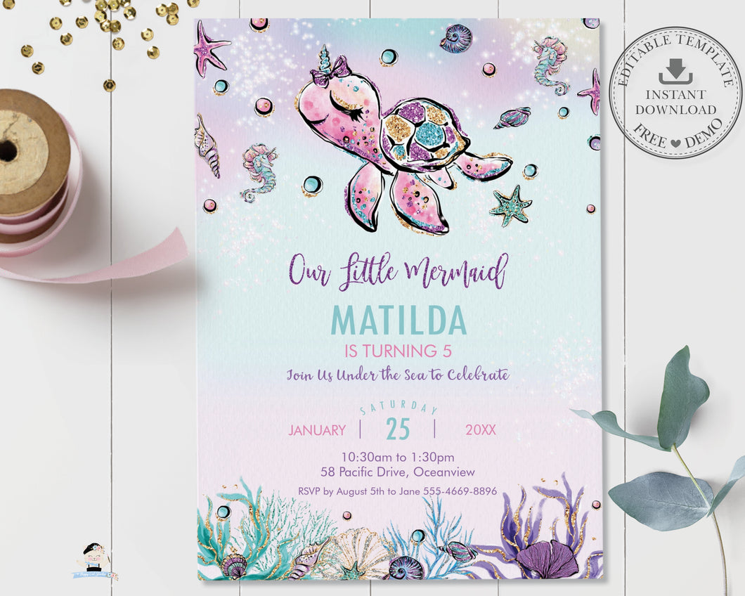 Whimsical Turtle Unicorn Under the Sea Birthday Invitation - Instant EDITABLE TEMPLATE Digital Printable File - MT2
