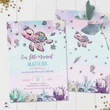 Load image into Gallery viewer, Whimsical Turtle Unicorn Under the Sea Birthday Invitation - Instant EDITABLE TEMPLATE Digital Printable File - MT2
