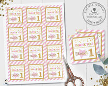 Load image into Gallery viewer, Chic Pink and Gold Twinkle Little Star Birthday Thank You Tags - Editable Template - Digital Printable File - Instant Download - TW1