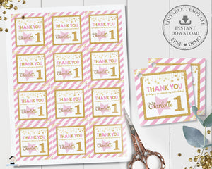 Chic Pink and Gold Twinkle Little Star Birthday Thank You Tags - Editable Template - Digital Printable File - Instant Download - TW1