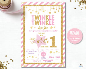 Twinkle Twinkle Little Star Pink and Gold 1st Birthday Party Invitation Editable Template Digital Printable File - Instant Download - TW1