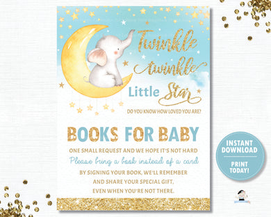 Twinkle Little Star Elephant Blue Baby Boy Shower Bring a Book Instead of a a Card Inserts - INSTANT DOWNLOAD Digital Printable File- TS1