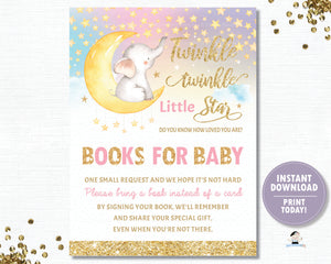 Twinkle Little Star Elephant Pink Bring a Book Instead of a a Card Inserts - INSTANT DOWNLOAD Digital Printable File- TS1