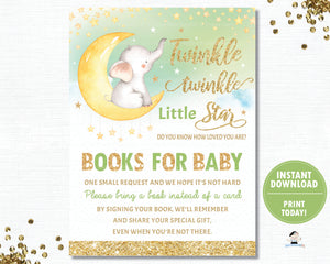Twinkle Little Star Elephant Green Gender Neutral Shower Gender Reveal Bring a Book Instead of a a Card Inserts - INSTANT DOWNLOAD Digital Printable File- TS1