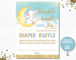 Twinkle Little Star Elephant Blue Diaper Raffle Tickets Inserts - INSTANT DOWNLOAD Digital Printable File- TS1