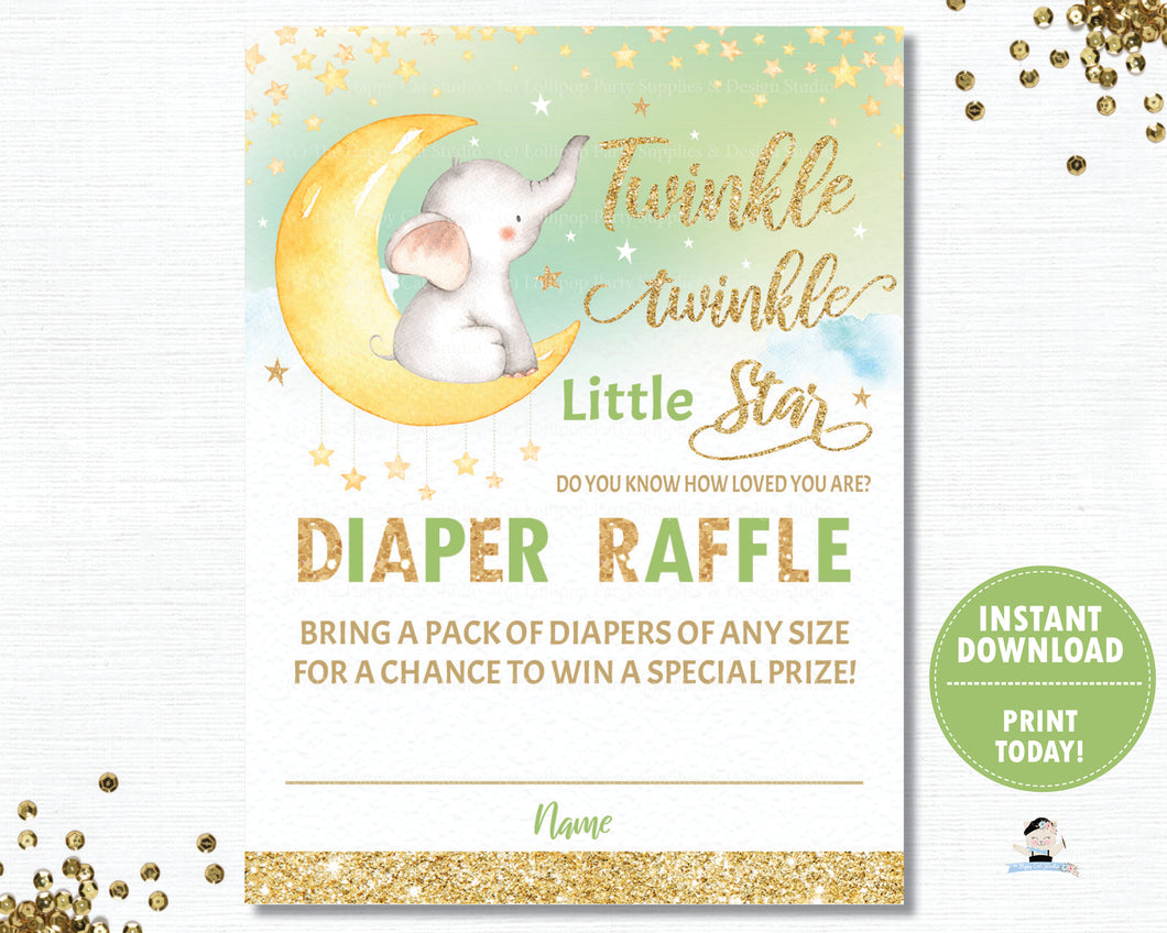 Twinkle Little Star Elephant Green Gender Neutral Diaper Raffle Tickets Inserts - INSTANT DOWNLOAD Digital Printable File- TS1